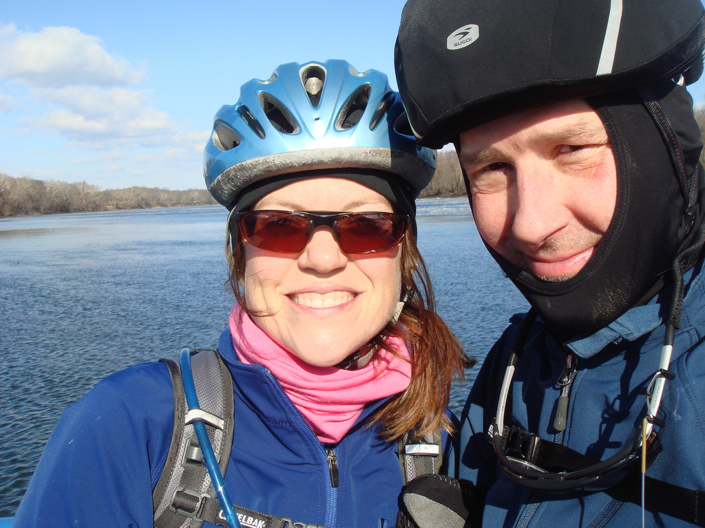 Felkerino and me on a cold January ride out to White's Ferry
