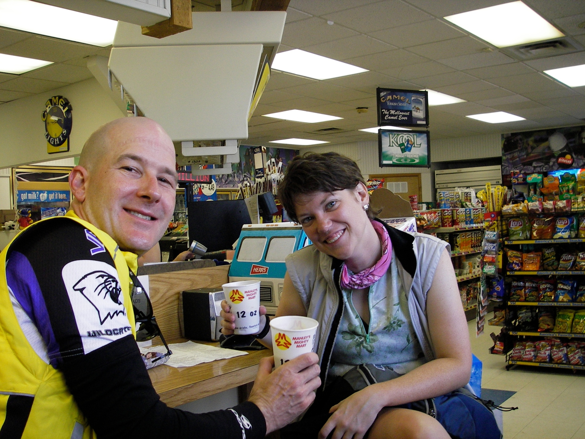 "Living the life in 2005. (c) Steve and Lynn, which they captioned ""As if they didn't get enough coffee."""