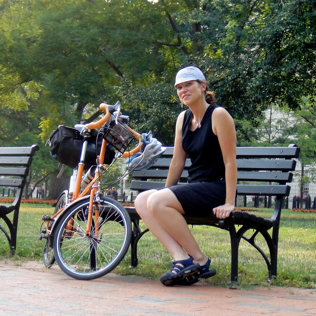 A peaceful moment in the park with my Bike Friday. On the inside, it's all pre-ride jitters!