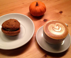 Pumpkin Whoopie Pie with Cappuccino at Buzz