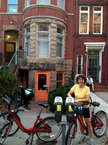 CaBi Coffeeneuring. Katrin in front of Filter