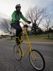 Ben B. and his tall bike on the Hains Point 100