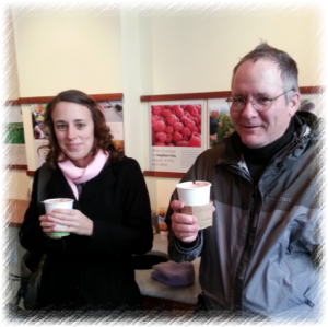 Kate and John. Sipping chocolate at Pitango takes away some of the shivers