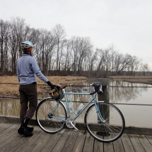 Stopping by Dyke Marsh on a New Year's Eve ride