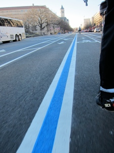 Pennsylvania Avenue. It's a bike lane. It's a parade route! It has almost no cars on it today!