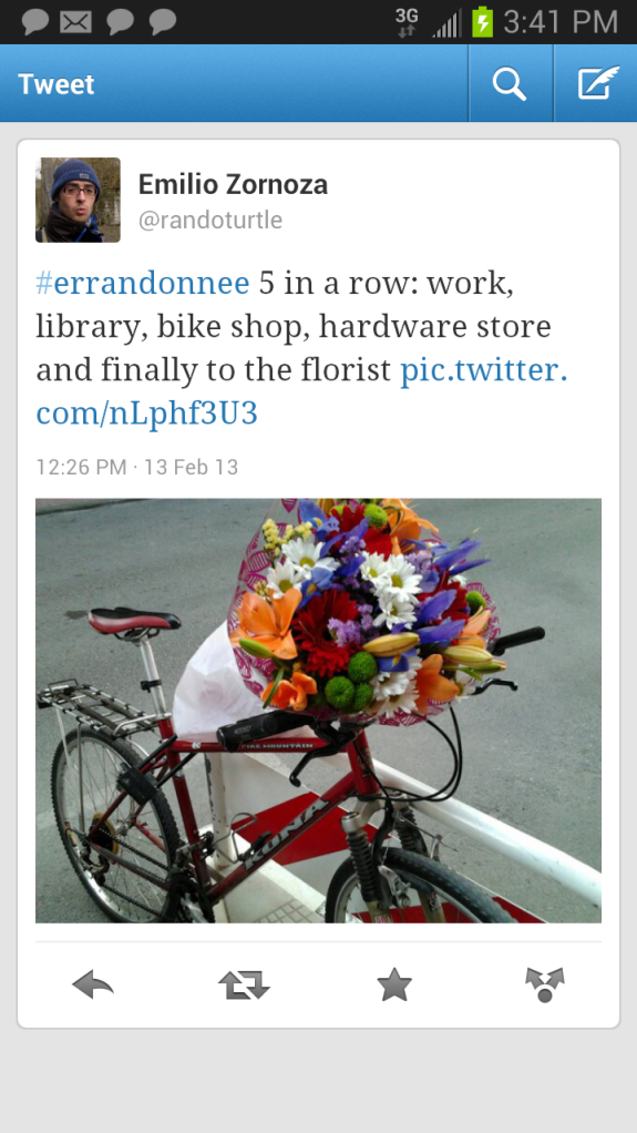 Flower shop and bike tweet