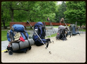 Appalachian Trail thru hiker packs