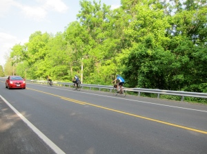 Barry, Bill, and Jose ride away on the D.C. Randonneurs 600K