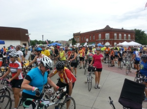 RAGBRAI riders in Dallas Center, Iowa