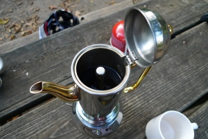 A close-up of the moka pot