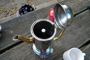 A close-up of the moka pot