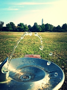 Water fountains still running!