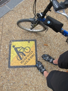 Visiting the Enid Haupt Garden. Walk your bike!