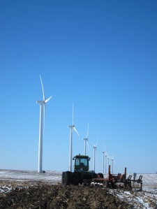 Wind farm and tractor