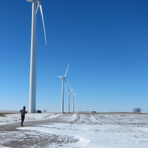 Approaching the robots, I mean wind turbines