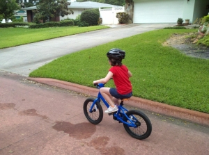 Sally's first day on the pedal bike