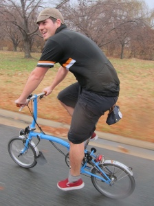 Pedaling along with @sharrowsDC on his Brompton.
