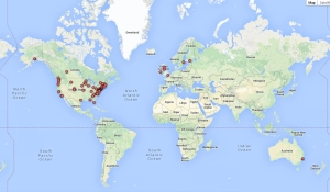 2013 Coffeeneuring World Map-Finishers and Honorable Mentions