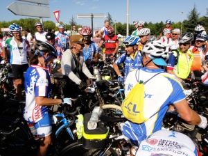 Drew Buck arrives amid a sea of modern bikes