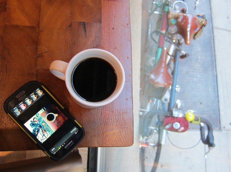 Another kind of meta-coffeeneuring photo. Pic by me