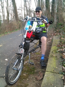 John with his recumbent, Big Nellie. Photo by Charmaine Ruppolt