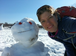 Selfie with snowman