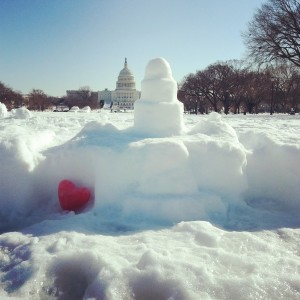 Valentine's Day Capitol in snow