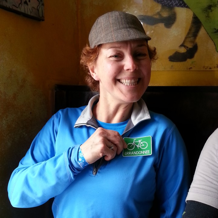 Ultrarunnergirl modeling the Errandonnee patch