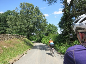 Climbing Rock Hill Road, just before our flat tire and chain problems began.