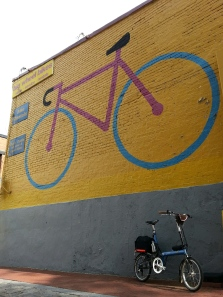 Small-wheeled bike at the Big Wheel Bikes mural. An irresistible photo op.
