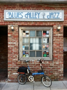 I can only find Blues Alley when I'm not looking for it. This alley is a known, yet off the main path, spot. I could hear people playing music, and when someone opened the door the odor of cigar smoke wafted out along with the music.