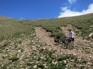 Hiking the bike over Rollins Pass