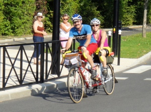 Bilenky tandem. I believe these are PA Randonneurs, and were honeymooning on PBP.