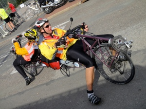 Back to back recumbent tandem. They took the 84-hour start.