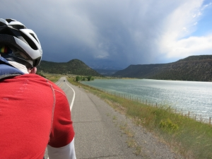 Stern clouds and stiff crosswinds outside of Ridgway