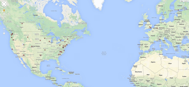 2014 1117 Coffeeneuring Cities Map