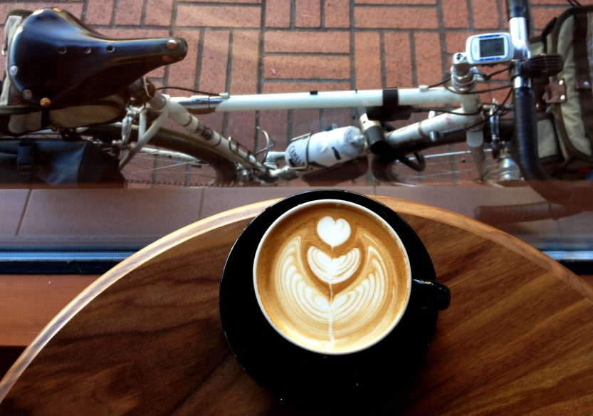 Latte art, and see, that's my bike out there. Photo by Bill Alsup