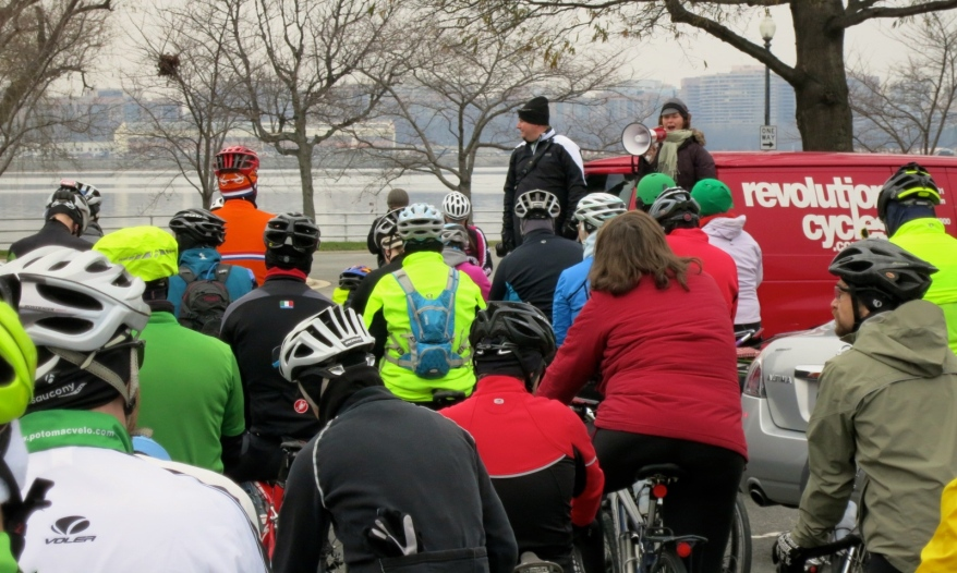 Nelle of WABA, with pre-ride announcements