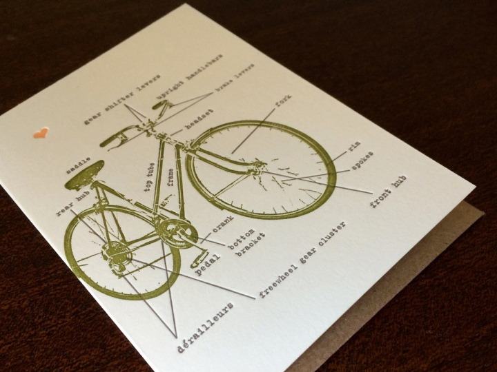 Bicycle Letterpress Card from Larkpress