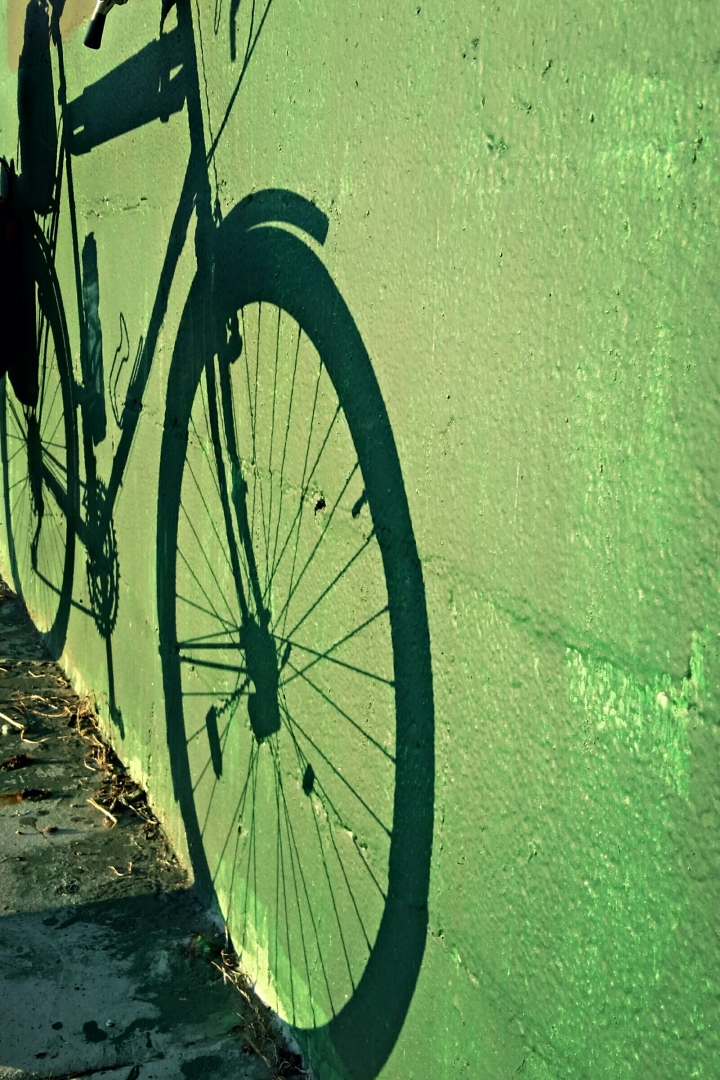 Bike shadow on Green