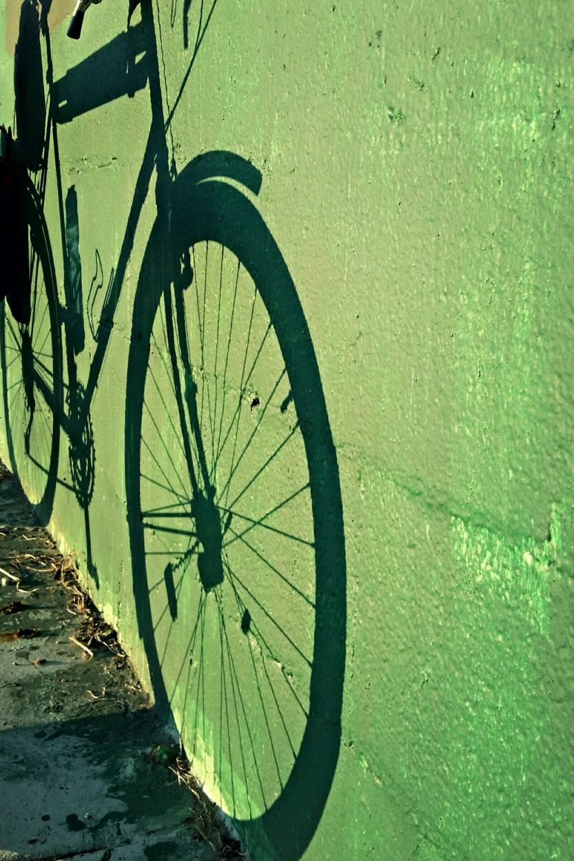 Bike shadow on Green