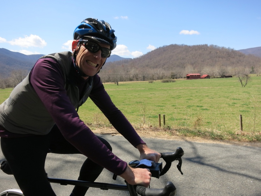 Jerry on Etlan Road, one of the most beautiful roads around