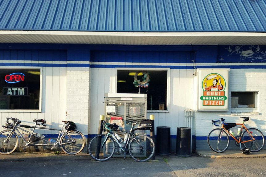 Brevet bikes at the convenience store
