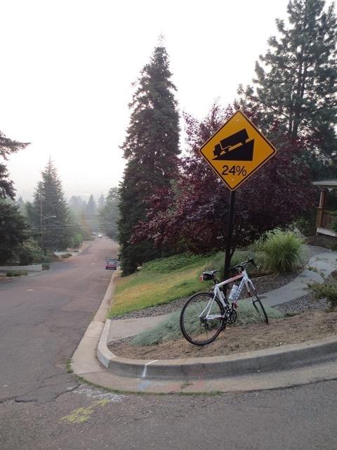 Exu in Ashland, Oregon, on a 24% grade. Photo credit Liz Macgregor
