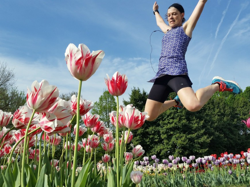 Jump for the tulips