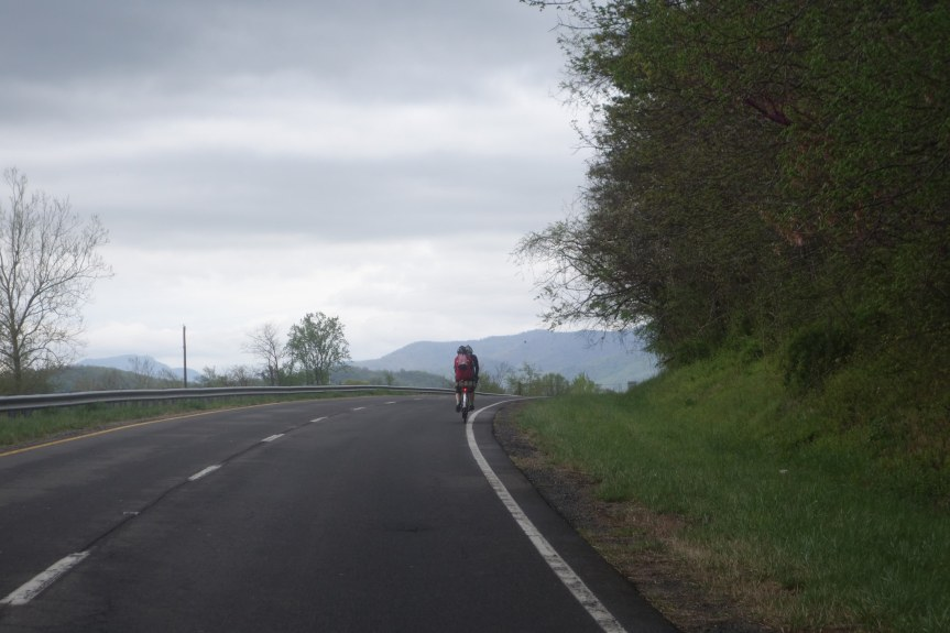 Riding toward the rain. Photo by Bill Beck