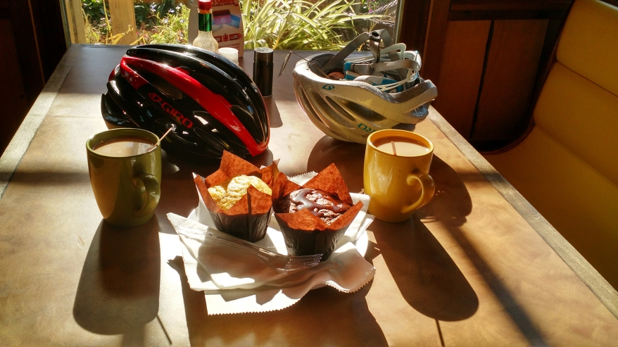 No people, but helmets, treats, and coffee. Photo by Bret and Maria